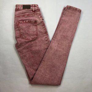 GARAGE Red Acid Wash Stretch Skinny Jeans 0